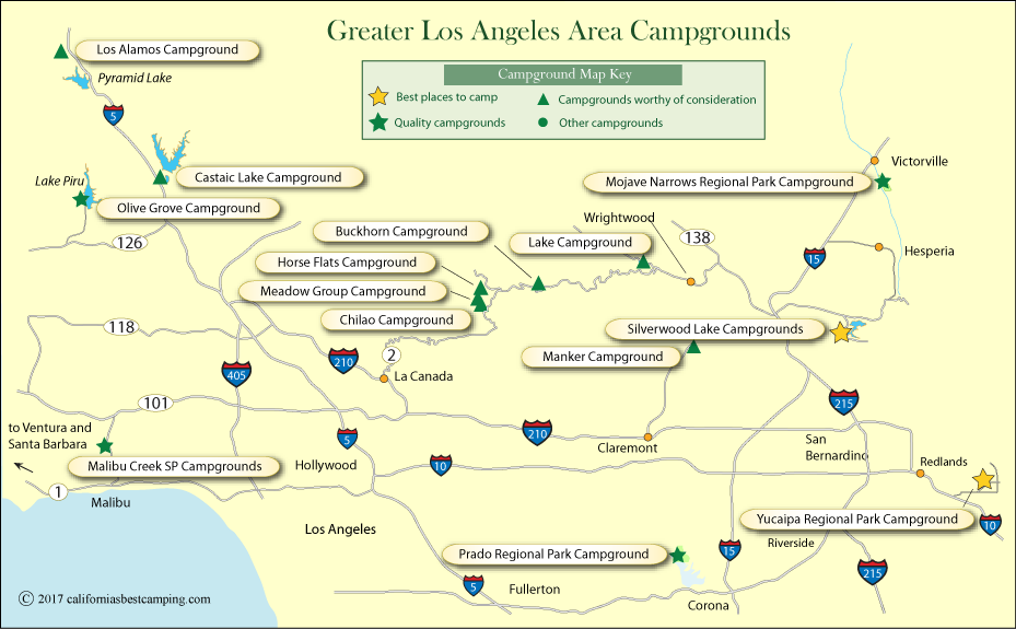 Los Angeles Area Campground Map Califoirnias Best Camping