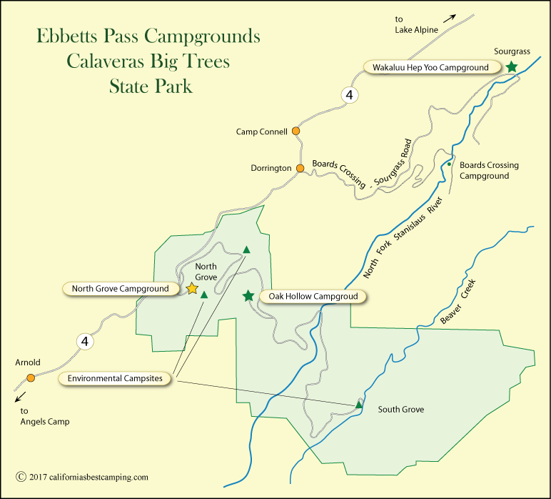Ebbetts Pass Campground Map Caifornia S Best Camping