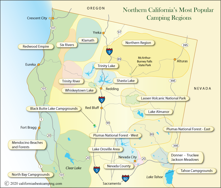 Northern California Campgrounds Map - California\'s Best Camping