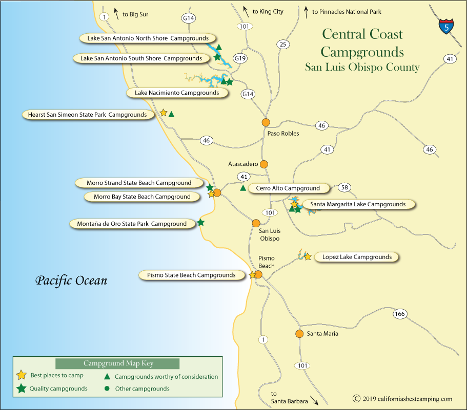 Central California Coast Campground Map on