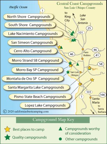 Central California Coast Campground Map