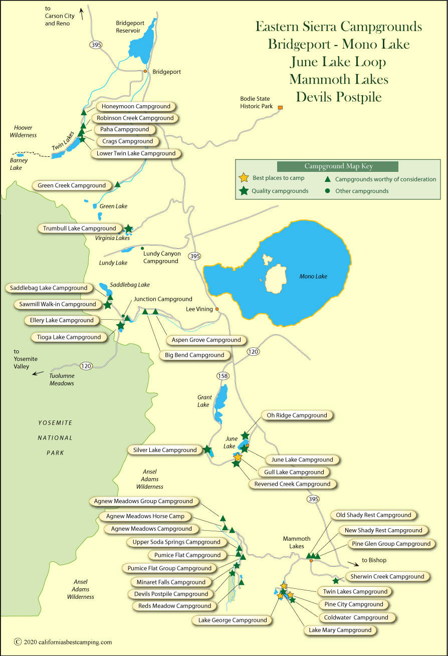 map of campgrounds in the eastern sierra from bridgeport to mammoth lakes