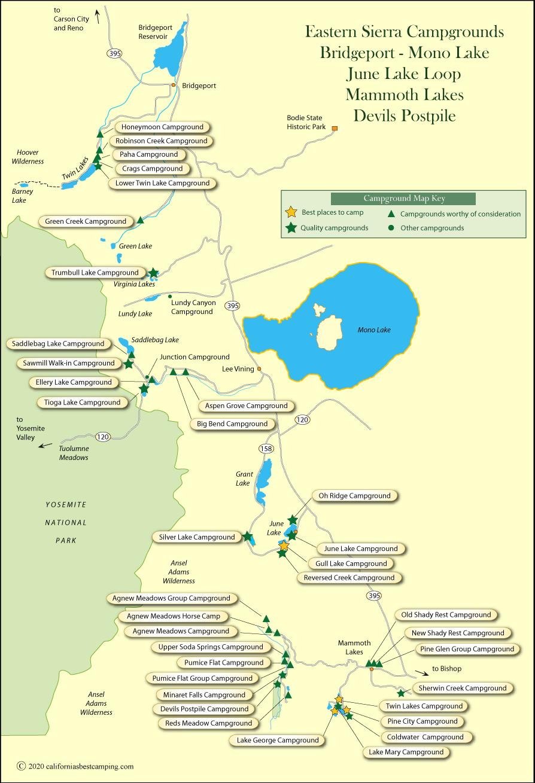 Eastern Sierra Campground Map
