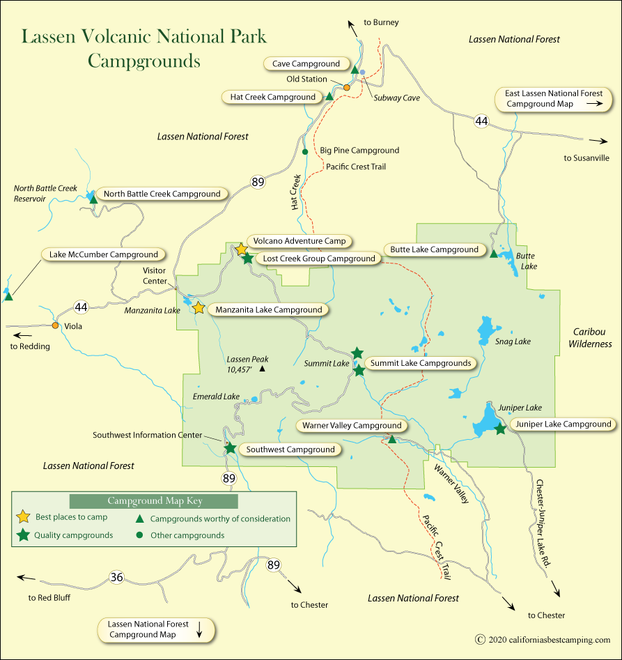 Lassen Volcanic National Park Campground Map
