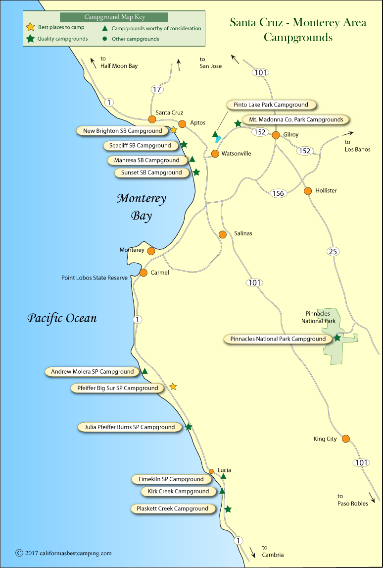 Monterey County California Map.Santa Cruz Monterey Area Campground Map