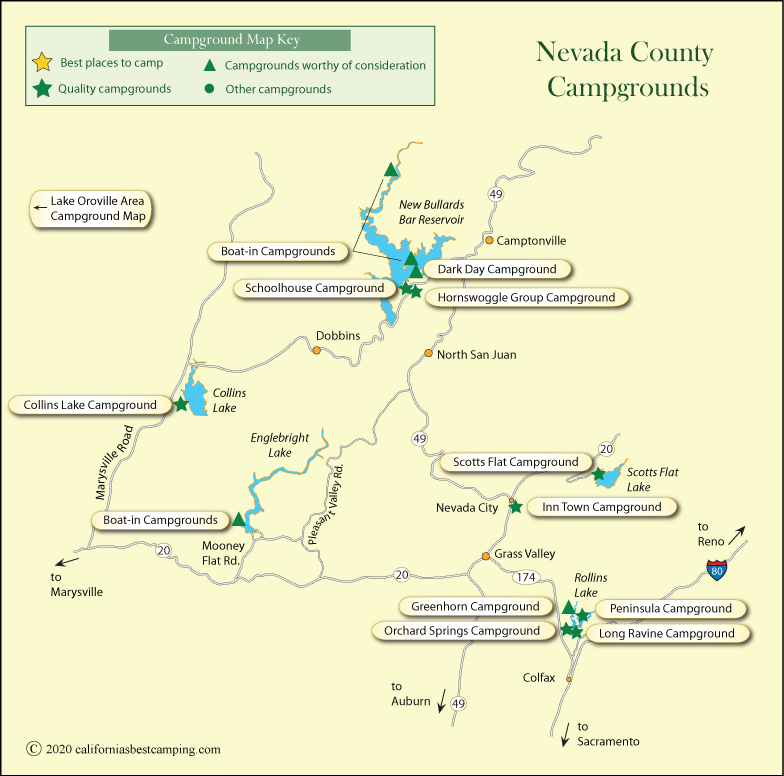 Nevada County Campground Map