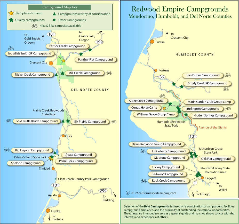 Redwood Empire Campground Maps on