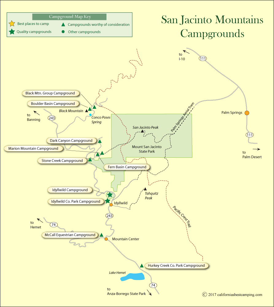 San Jacinto Mountains Campground Map