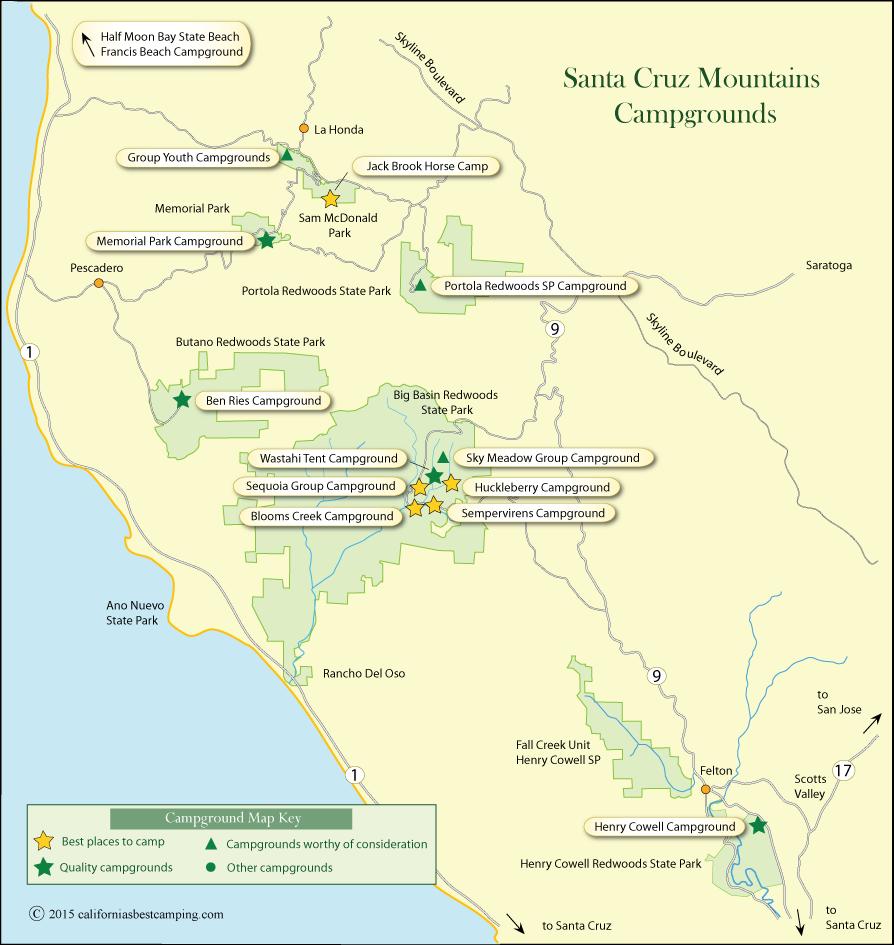 Santa Cruz Mountains Campground Map