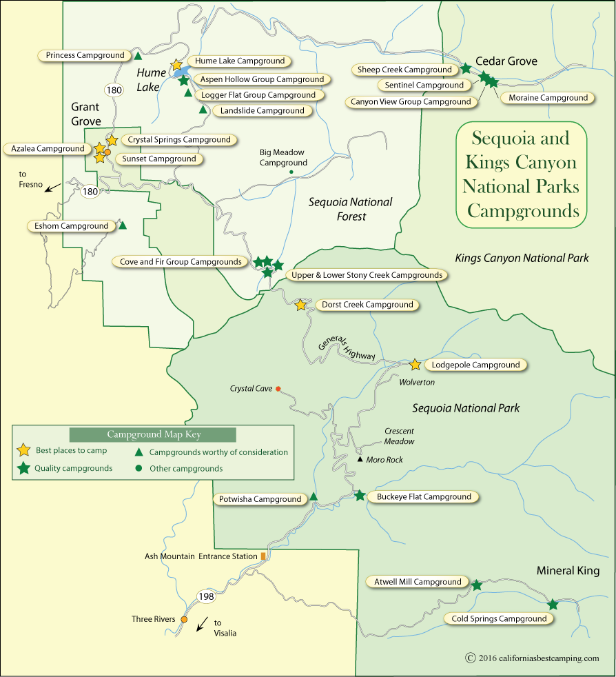 Campground Map Of Sequoia And Kings Canyon National Parks