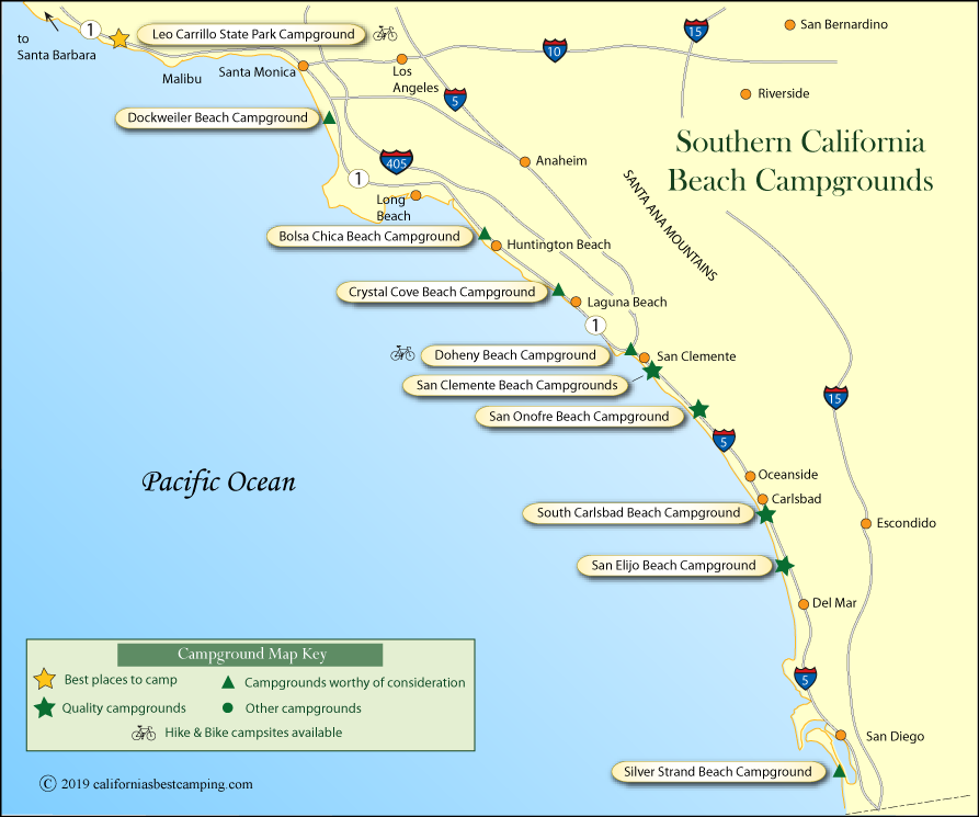 Southern California Beach Cground Map: Map Of Southern California Coastline At Slyspyder.com