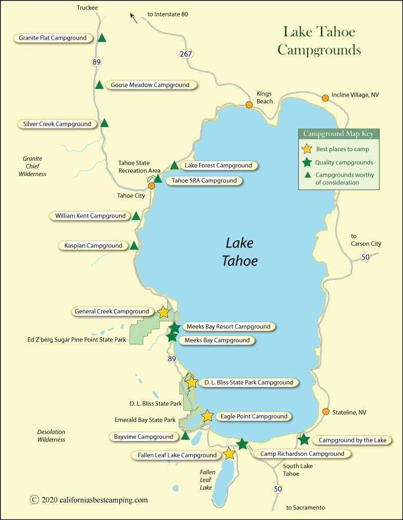 Lake Tahoe Campground Map California