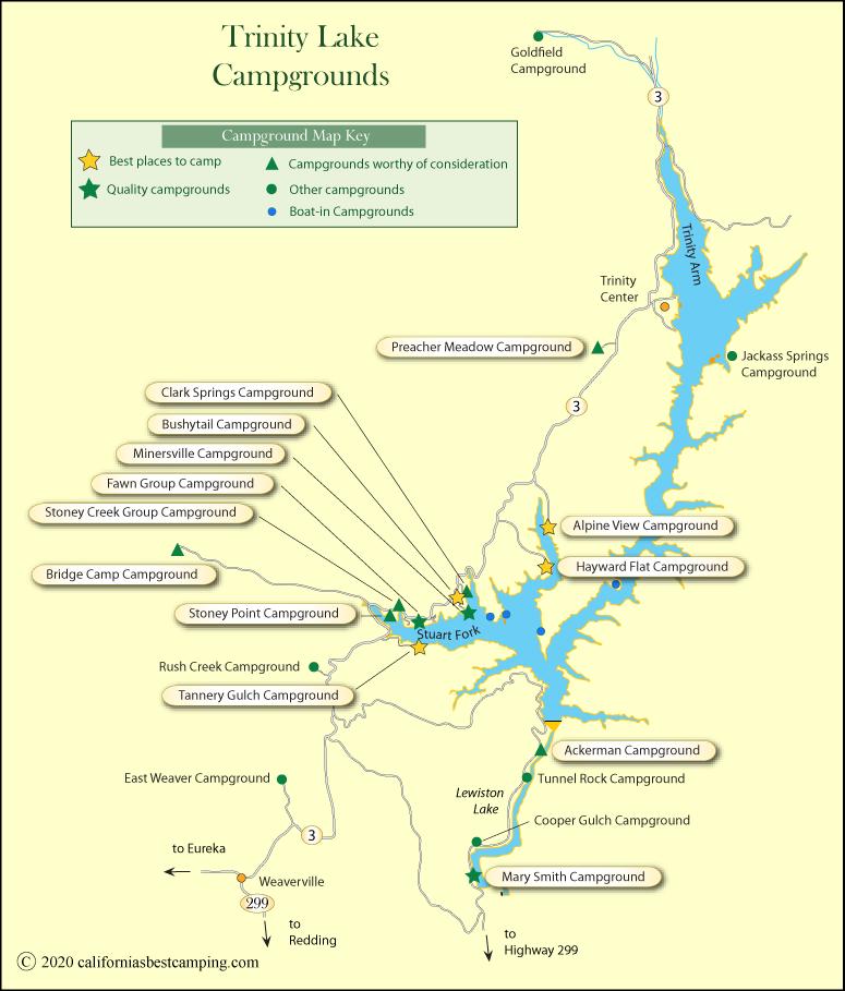 Trinity Lake Camping Map