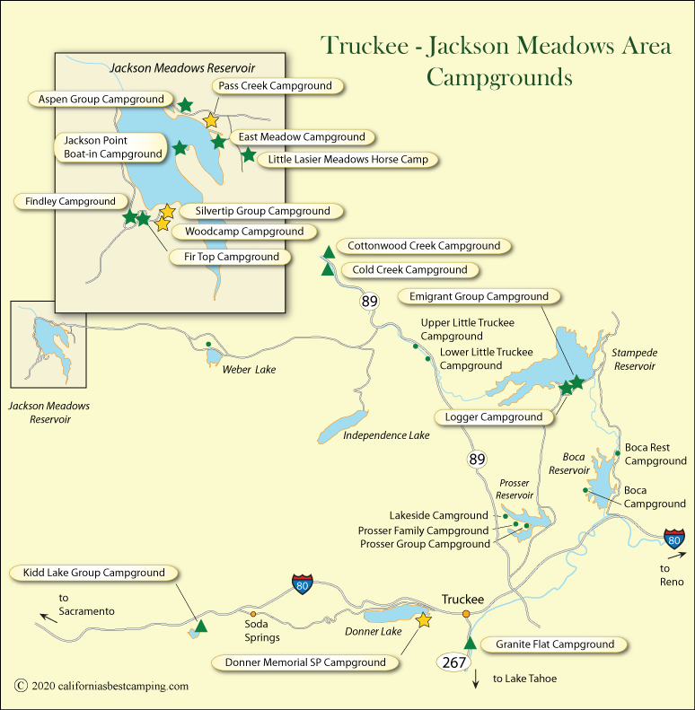 Truckee and Jackson Meadows Area Campground Map on