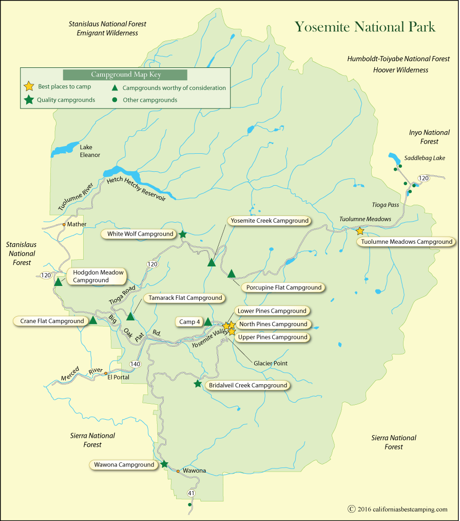 Campground Map of Yosemite National Park