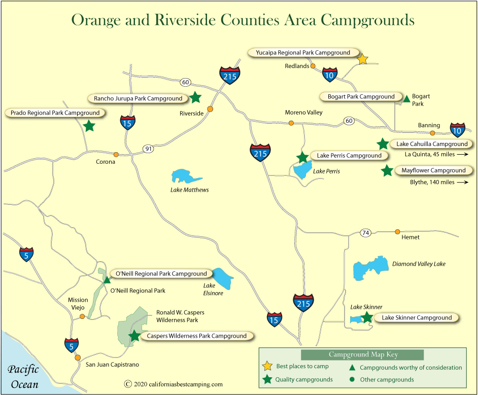 Orange and Riverside Counties Campground Map