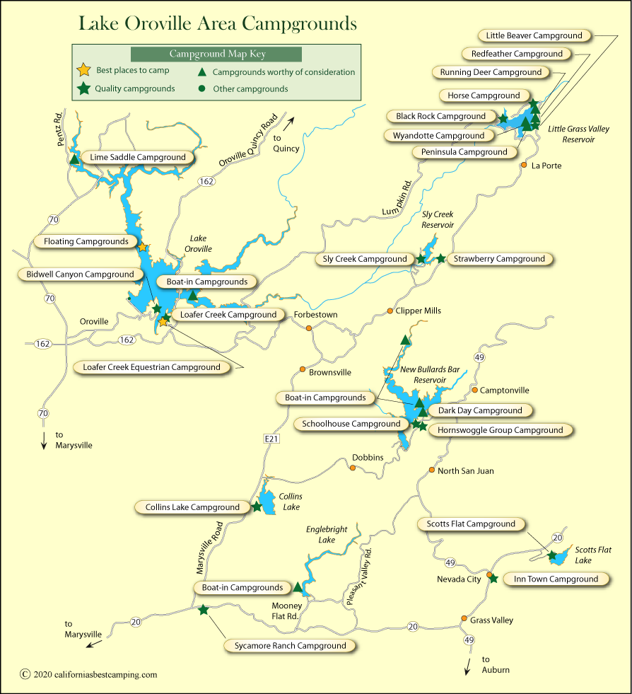 lake oroville camping map Lake Oroville Area Campground Map lake oroville camping map