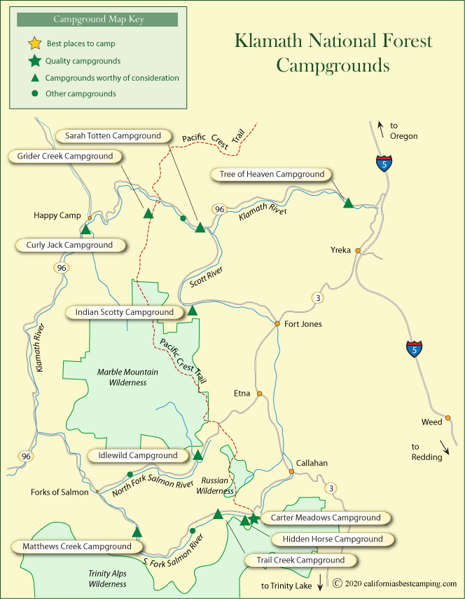 National Forests In California Map.Klamath National Forest Campground Map