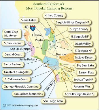 rv parks in southern california map Southern California Campgrounds Map California S Best Camping