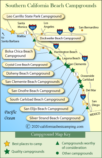 rv parks in southern california map Southern California Beaches Campground Map