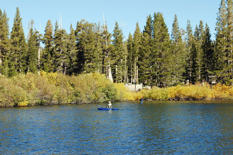 float fishing in Lake Mary, Mammoth Lakes, CA