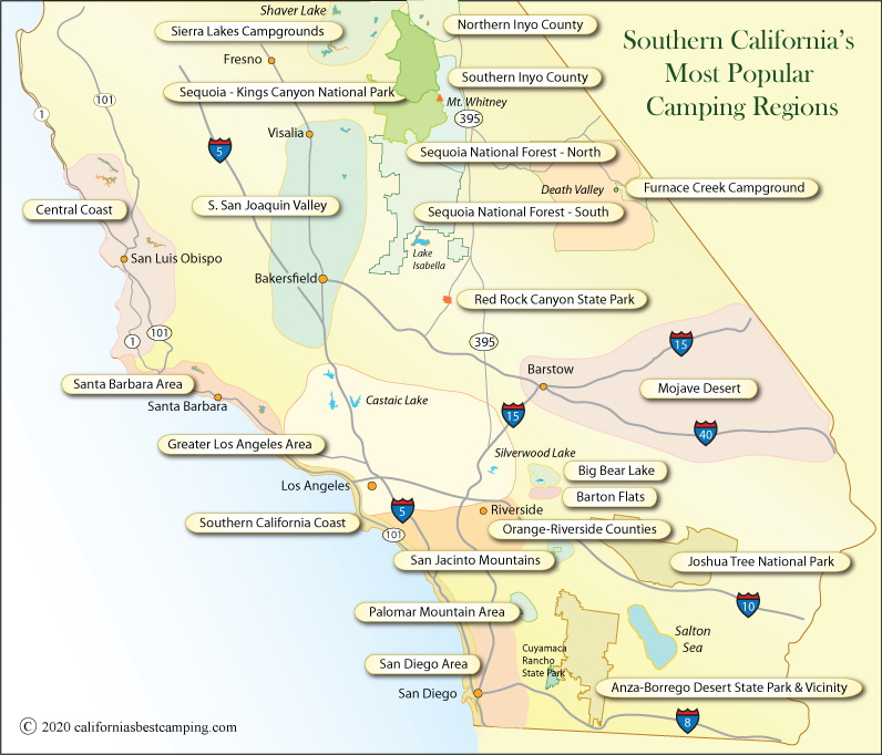 Map Of South California Southern California Campgrounds Map   California's Best Camping