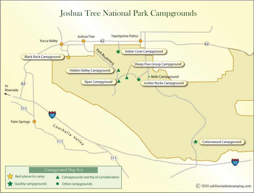 Map Of Joshua Tree National Park Joshua Tree National Park Camping Map