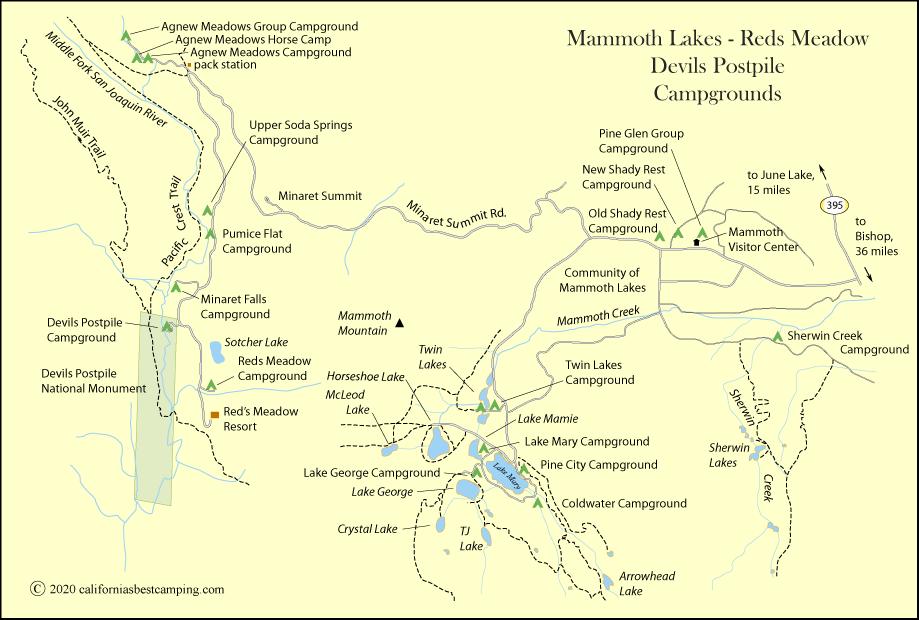 Twin Lakes Campground Map Twin Lakes Campground   Mammoth Lakes