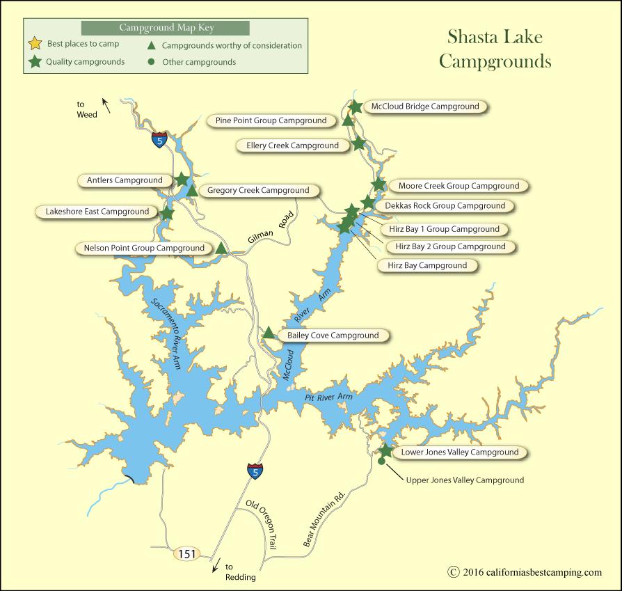 Map Of Lake Shasta Shasta Lake Campground Map