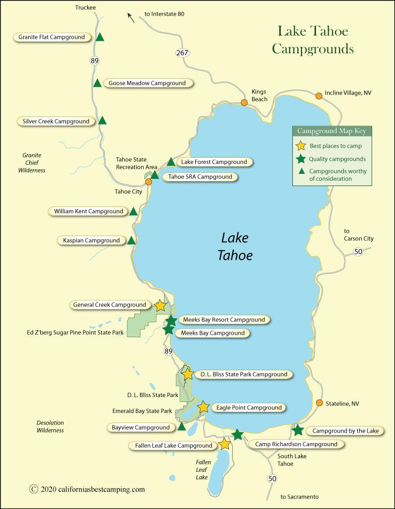 Lake Tahoe Map Lake Tahoe Campground Map   California Lake Tahoe Map