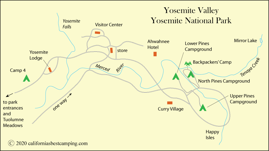 North Pines Campground Map North Pines Campground   Yosemite National Park