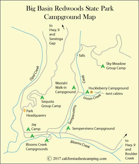 Big Basin Redwoods State Park Map Big Basin Camping   Big Basin Redwoods State Park