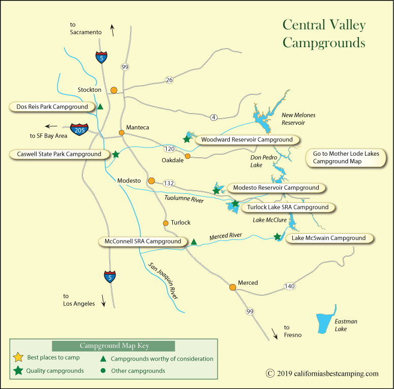 Map Of California Central Valley.Central Valley Campground Map