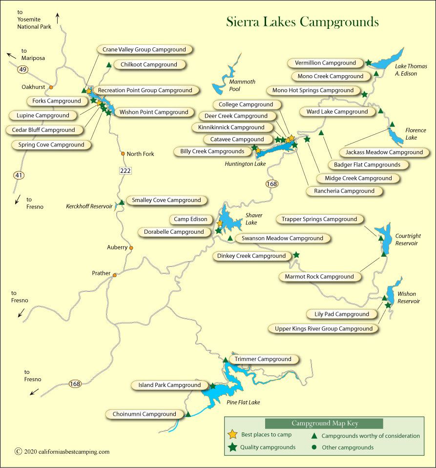 Sierra Lakes Campground Map